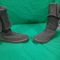 UGG Australia Women's Size 7 Grey Boots Cardy Knit Tall Sweater Button 5819