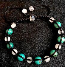 Turquoise/ Rose Quartz Healing/protection Shamballa Adjustable Bracelet Unisex