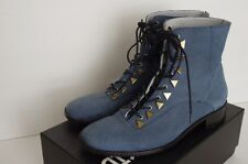 New Kid Blue Textured Nubuck Dreamcore Lace-Up Ankle Boots Booties Italy 8.5 39