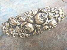 Antiqued Brass Roses Hair Barrette French Made Clip New Made in USA   013