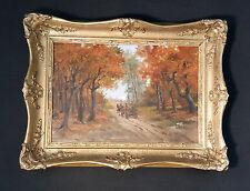 NEMETH GYÖRGY (*1888-1962) Ungarisches Ölgemälde Pferdefuhrwerk im Herbstwald