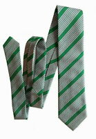 TURNBULL & ASSER London Made in England Mens Green Striped Woven Silk Tie 57-3.5