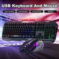 DPI4000 RGB Backlit Gaming Keyboard and Mouse Combo LED Mechanical Feel for PC