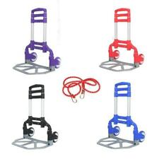 Adjustable Luggage Cart Folding Push Truck Hand Aluminium Trolley Bungee Cord