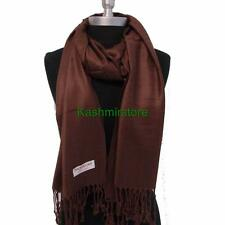 NEW Women Soft PASHMINA Cashmere SILK Classic Solid Shawl Scarf  Dark Brown #707