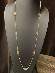 Kendra Scott Kellie Long Station Necklace Brown Mother Pearl Rose Gold
