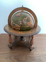 """VINTAGE WOOD OLDE OLD WORLD GLOBE ITALY 11"""" TALL ASTROLOGY ZODIAK WITH STAND"""