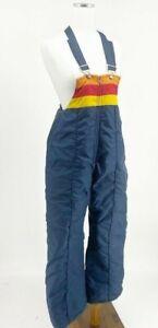 Vintage Montgomery Ward Retro Insulated Ski Snow Pants Bibs Womens Rainbow Blue