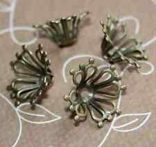 Floral antique bronze bead cap – pack of 20 pcs