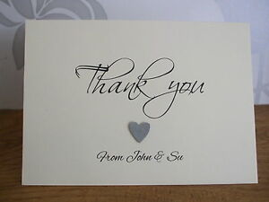 10 Handmade Personalised Folded Heart Thank You Cards & Envelopes All Occasions