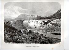 Stampa antica MONTALLEGRO veduta fiume Platani Agrigento Sicilia 1876 Old print