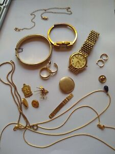 Gold Filled /Plate Jewelry And Watch Lot 140 Grams Antique Vintage Pieces 10