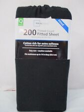 Mainstays 200 Thread Count Cotton/polyester Queen Fitted Sheet-Rich Black- New