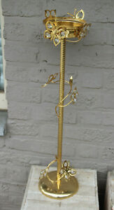 Gorgeous vintage 1970 Metal gold gilt butterfly floral standing ashtray