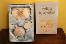 Precious Moments Baby Keepsakes Boy Piggy Bank Tooth Pillow  Lock Of Hair Box
