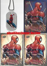 Spider-Man Dog Tag + 2 Base Cards & 1 Foil Card - Upper Deck Marvel Dossier