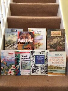 8 Mixed Art Painting Books Mainly Watercolour
