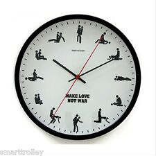 30CM Make Love Not War Sex Position Novelty Adult Glass Metal Wall Clock