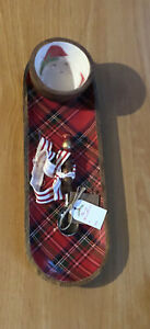 Mud Pie 2020 Santa Tartan 2 Piece Chip And Dip Set Serving Tray Christmas NEW