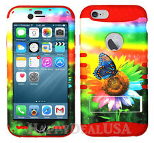 Hybrid Silicone Cover Case for Apple iPhone - Rainbow Sunflower Butterfly 22