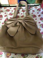 F&F Ladies Beige Faux Leather Bow Trim Medium Shoulder Handbag 35cm x 28cm