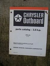 1981 Chrysler 3.5 HP Outboard Motor Parts Catalog Model 32 H2E MORE IN STORE  V