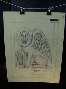 """""""St. Mark (Lion)"""" 1946-59 Original Pencil Sketch By C. Schattauer Kelm"""