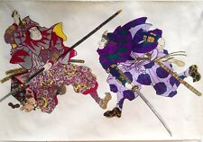 Vintage Japanese samurai warriors water color and ink figurine painting unmount