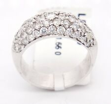 Bold 14k White Gold VS2/H 1.66CT,Pave Round Diamonds Narrow Band Ring,6.5