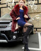 100% Real Genuine Rabbit Fur Long Coat With Fox Fur Collar Jacket Coat Outwear