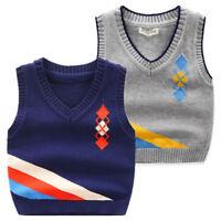 Kids Toddler Boys Knitted Soft Cotton Tank Top Vest Jumper Knit Waistcoat V Neck