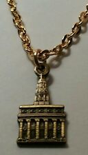 Mormon NAUVOO TEMPLE Antique Gold Pendant & Necklace