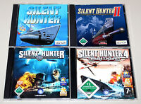 4 PC SPIELE SAMMLUNG - SILENT HUNTER 1 2 3 4 I II III IV - U BOOT SIMULATION