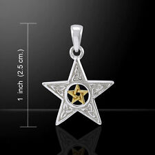 Double Pentagram Pentacle Trinity Knot Silver and Gold Pendant Peter Stone
