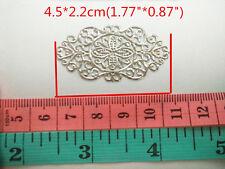 50 Silver DIY Filigree Flower Embellishments Findings Art Deco 4.5*2.2cm