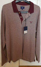 NEW WITH TAGS GANT OXFORD PIQUE LONG SLEEVE POLO RUGGER MEDIUM PURPLE FIG