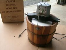 VINTAGE  5 QUART ELECTRIC WOOD TUB ICE CREAM MAKER IN BOX