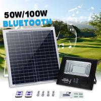 50W/200W LED Bright Solar Powered Flood Light bluetooth Outdoor Wall Street Lamp