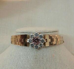 "Gold Filled Rhinestone and Pink Crystal Women Fashion Bracelet. 8"""