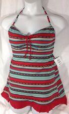 NEW 1PC MAINSTREAM Bathing SwimSuit Size 14 Red Stripe Skirt Open Back Dress Pad