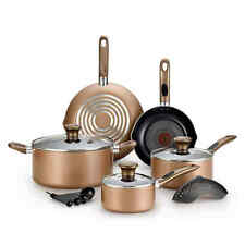 NEW Cookware Set 14 Piece Nonstick Interiors Pots, Pans, Skillets in Bronze