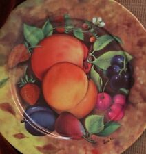 Email de Limoges hand decorated peaches and plum collector dessert plate