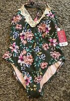 NEW Hula Honey Tropic Romance Green Floral One-Piece Swimsuit Multiple Sizes NWT