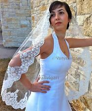 LACE SPANISH MANTILLA, BRIDAL LACE VEIL IN FINGERTIP LENGTH, BEADED LACE, IVORY