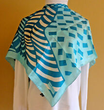 "Women's VTG Carven Paris Made in France Silk Square 33"" x 33"" Blue Scarf"