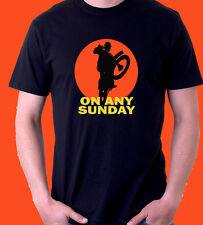 ON ANY SUNDAY Steve McQueen Motocross Black T Shirt S -  3XL HONDA ktm MOVIE KTM