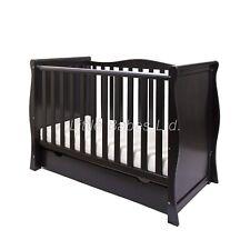 Black Sleigh Mini Cot Bed & Drawer + ECO HD Airflow Fibre Mattress 120x60x10cm