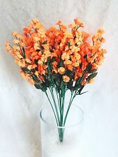 12 Baby's Breath ~ ORANGE ~ Gypsophila Silk Wedding Flowers Bouquet Centerpieces