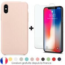 Coque Silicone iPhone 6 7 8 Plus Xr Xs MAX X 11 12 Pro + Vitre Film Verre trempé
