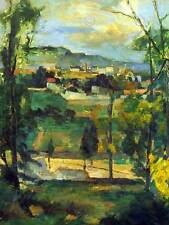 Village behind trees ile de france old art painting print 12x16 pouces 2141OM